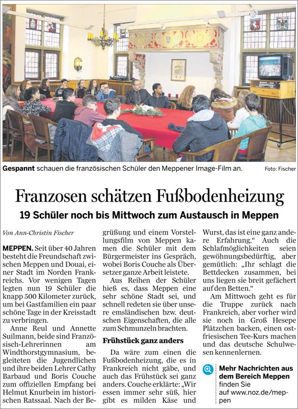 Bericht in der Meppener Tagespost vom 27.01.2016 zum Besuch der französischen Austauschschüler aus Douai, die eine Woche lang zu Gast in Meppen waren.