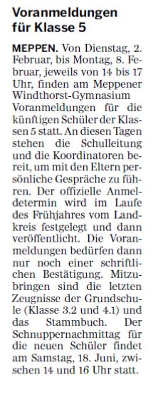 Pressemitteilung in der Meppener Tagespost vom 25.01.2016 zum Voranmeldetermin.