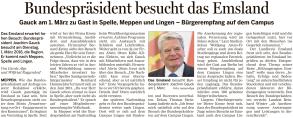 Ankündigung der Reise von Bundespräsident Gauck in der Meppener Tagespost vom 20.02.2016