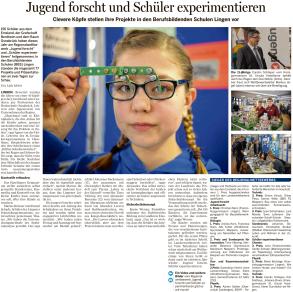 """Bericht zum Regionalwettbewerb von """"Jugend forscht"""" in der Meppener Tagespost vom 27.02.2016"""
