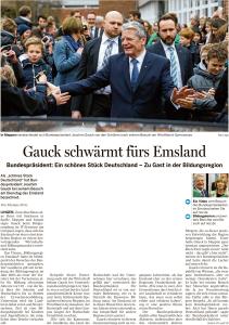 Leitartikel in der Meppener Tagespost vom 02.03. zum Besuch von Bundespräsident Gauck.