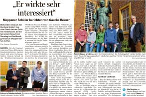 Bericht in der Meppener Tagespost vom 03.03. über ein Interview mit Schülerinnen und Schülern des WGM sowie Herrn Schmitt zum Besuch von Bundespräsident Gauck.