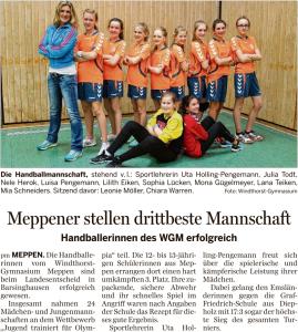 Pressemitteilung zum Erfolg der Handballerinnen in der Meppener Tagespost vom 14.03.2016.