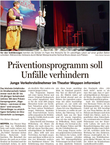"""Bericht zum Projekt """"Abgefahren - wie krass ist das denn?"""" in der Meppener Tagespost vom 12.03.2016."""