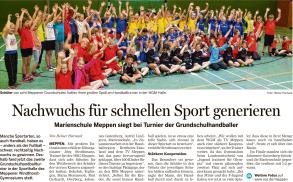 Bericht aus der Meppener Tagespost (06. Mai 2016) zum Handballturnier der Grundschulen in der WGM-Halle