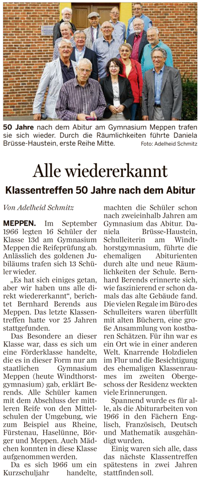 Bericht in der Meppener Tagespost vom 01. Okt. 2016 zum Treffen mit Schulleiterin Fr. Brüsse-Haustein.