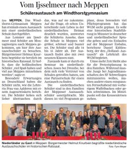 Bericht zum Austausch in der Meppener Tagespost vom 04. Dez. 2015, S. 17.