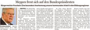Vorbericht zum Besuch von Bundespräsident Gauck am 01.03.2016 in der Meppener Tagespost vom 29.02.2016