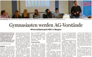 Bericht in der Meppener Tagespost vom 02. Nov. 2016.